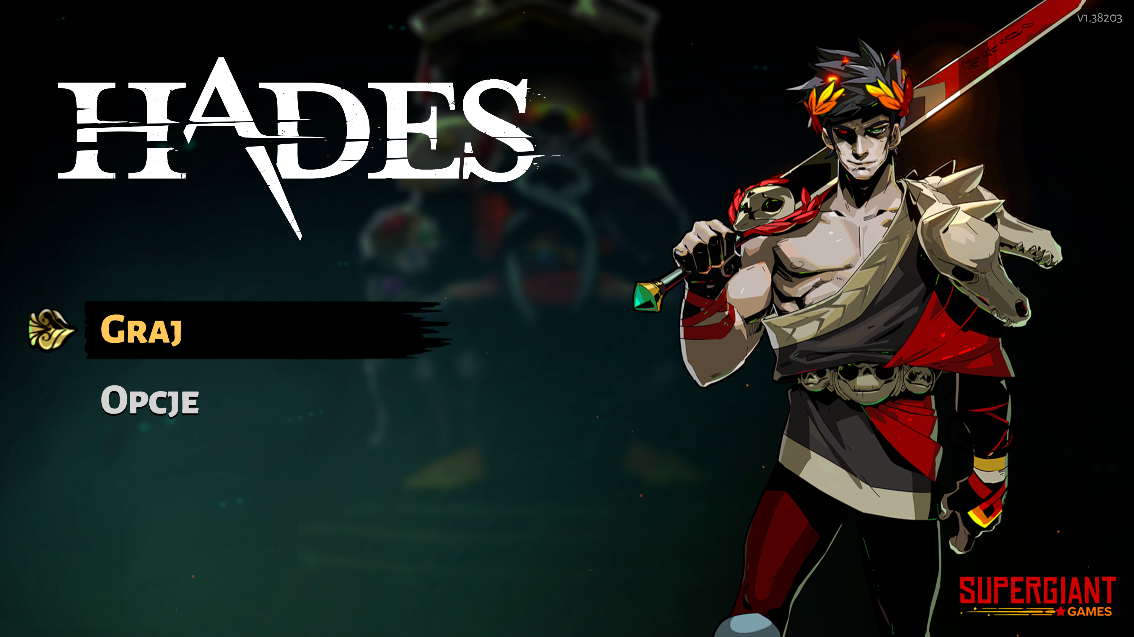 Ekran startowy gry Hades